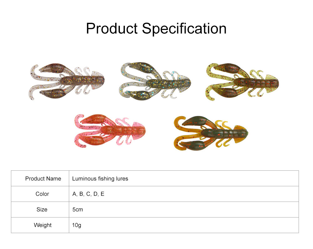 Luminous Fishing Lures with Curly Tail Shrimp Style, Fishy Lobster Bionic Baits Fishing Tackle Artificial Bait Fake Lures 5