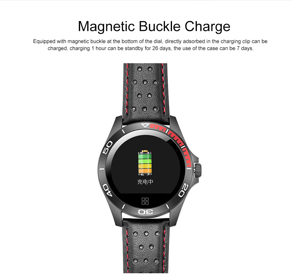 Multifunctional Smart Electronic Watch Supporting Sports Step & Heart Rate with IOS/Android Bluetooth, Water-poof Bracelet with Genuine Leather Strap 5