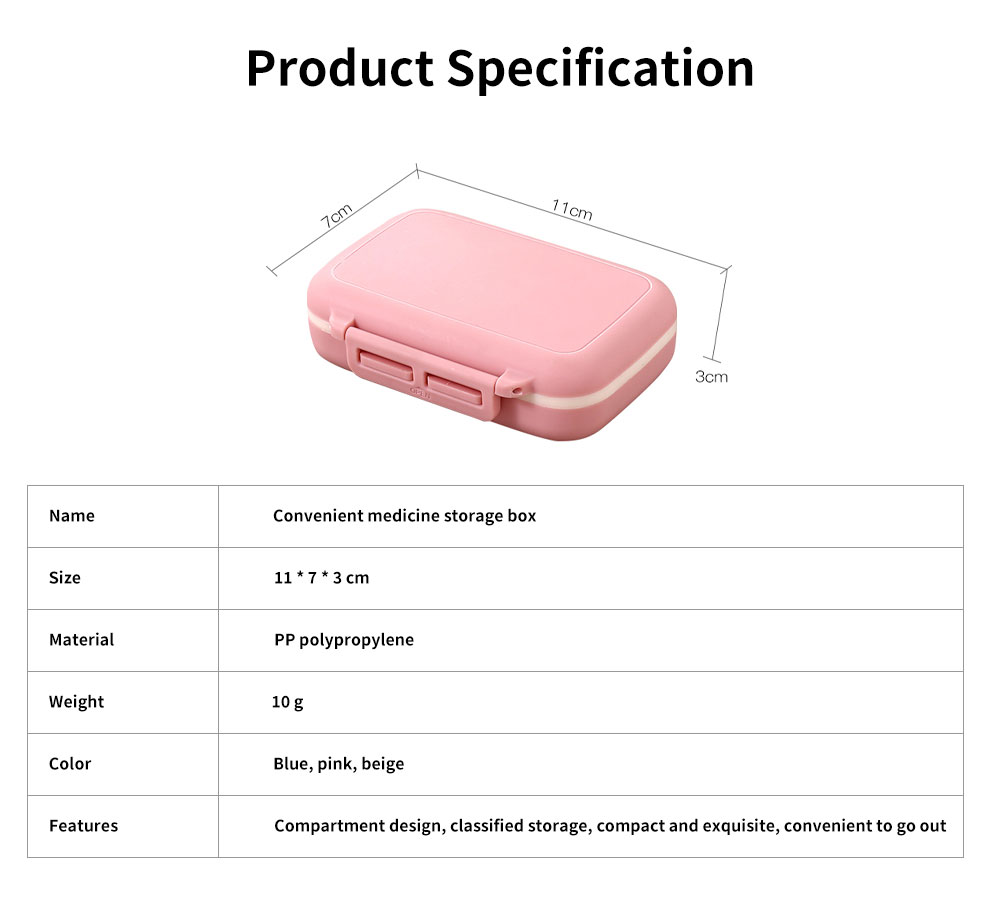 One Week Daily Sealing Pill Case Dispenser, Portable Mini Storage Box PP Small Container for Medicine Jewelry Vitamin 6