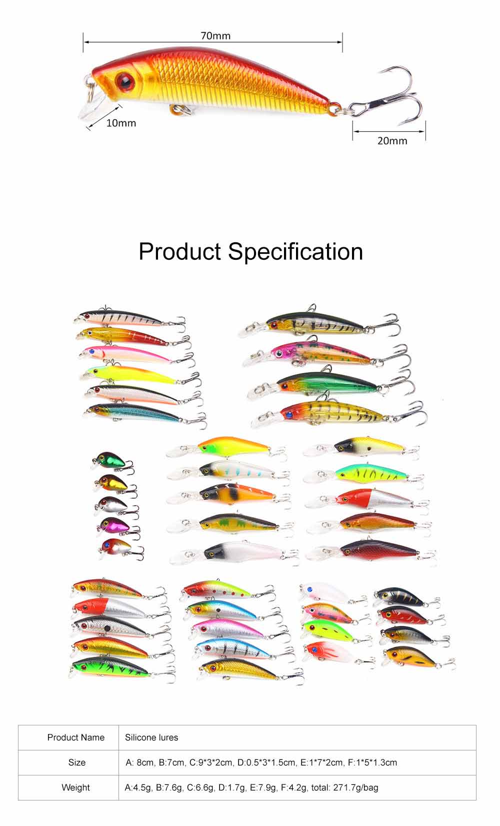 43 Outfit Fishing Lures with Various Style and Variety of Shape, Silicone Baits, Attractants for Saltwater and Freshwater 6