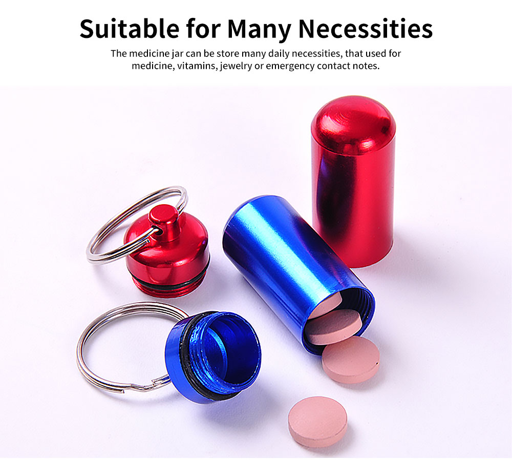 Mini Pill Storage Canister Aluminum Alloy Portable Container for Medicine Jewelry Emergency Notes Waterproof Store Drug Jar 4