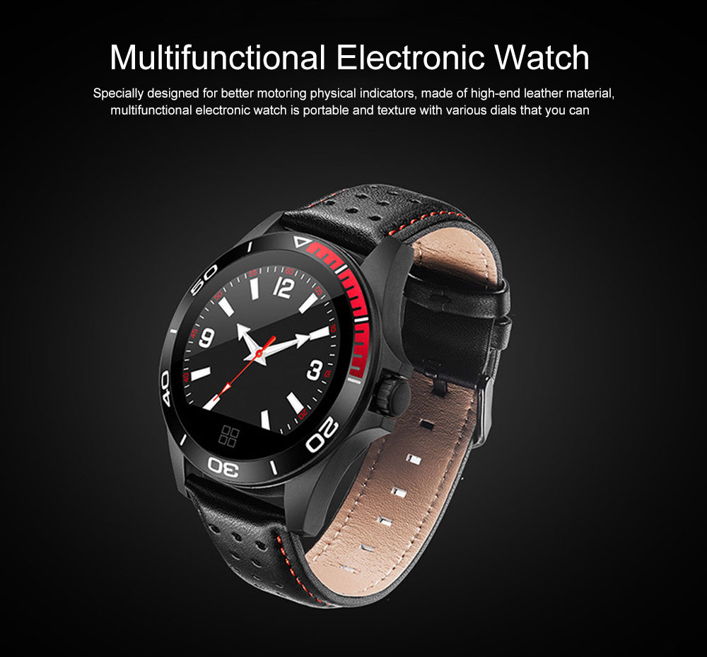 Multifunctional Smart Electronic Watch Supporting Sports Step & Heart Rate with IOS/Android Bluetooth, Water-poof Bracelet with Genuine Leather Strap 0