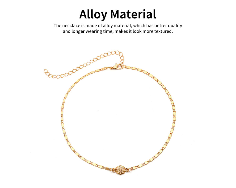 Retro Alloy Plating Necklace Multiple Elements Ornament Coin Flower Diamond Style Neck-let for Women Girl - Golden 1