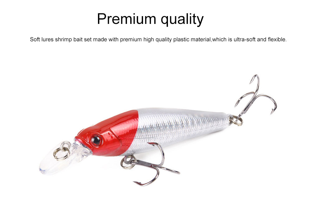 Bionic Fishing Lure with Double Circle and 3D Eyes, Lifelike Skin Silicone Baits, Attractants for Saltwater and Freshwater 1