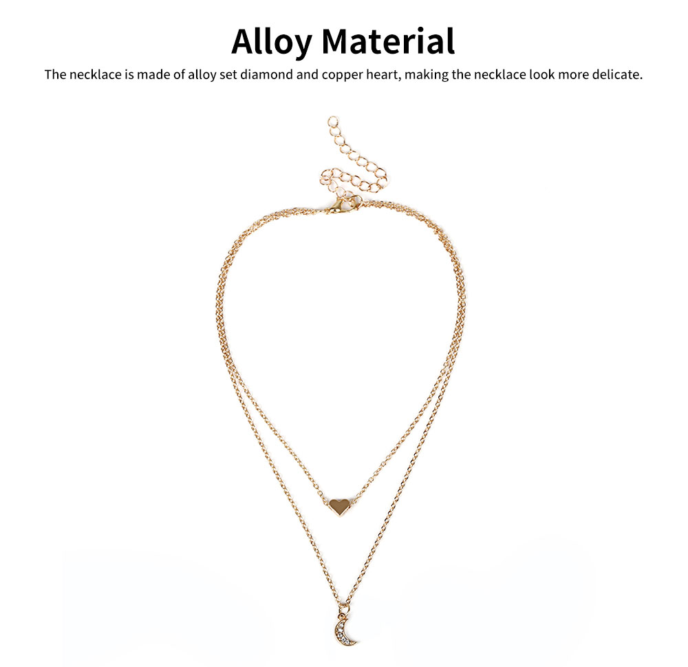 Female Necklace Alloy Neck-let Two Layers Moon Heart Shapes Torque Simple Ornament for Women 4