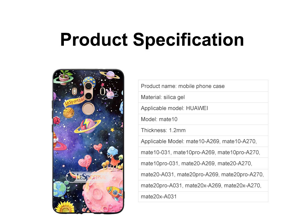Creative Planet Oil Painting Silicone Phone Shell for Huawei Mate 10 Drop-resistance Huawei Mate 20 Cover Phone Case 6