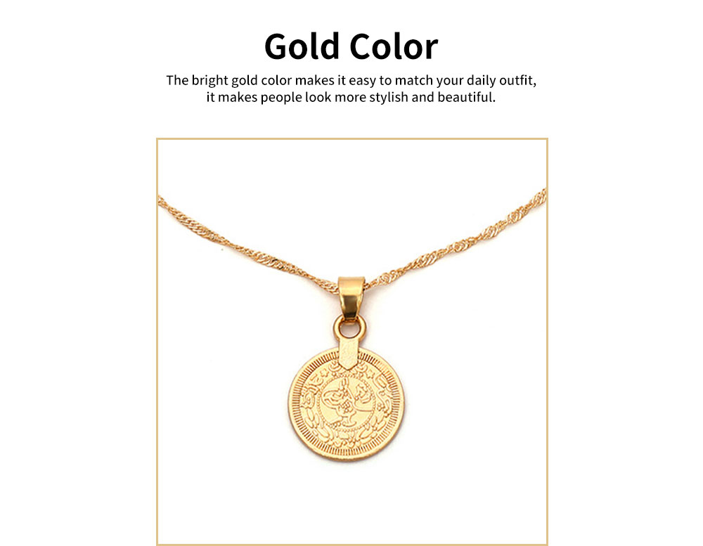 Retro Alloy Plating Necklace Multiple Elements Ornament Coin Flower Diamond Style Neck-let for Women Girl - Golden 4