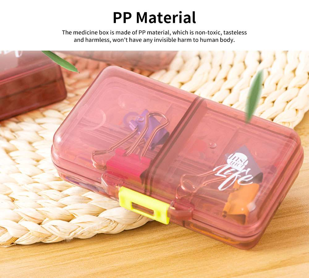 Portable PC Pill Organiser Storage Box Non-toxic Container 8 Spaces for Medicine Jewelry Easy Carrying Double Layers Dispenser 4 Colors 1
