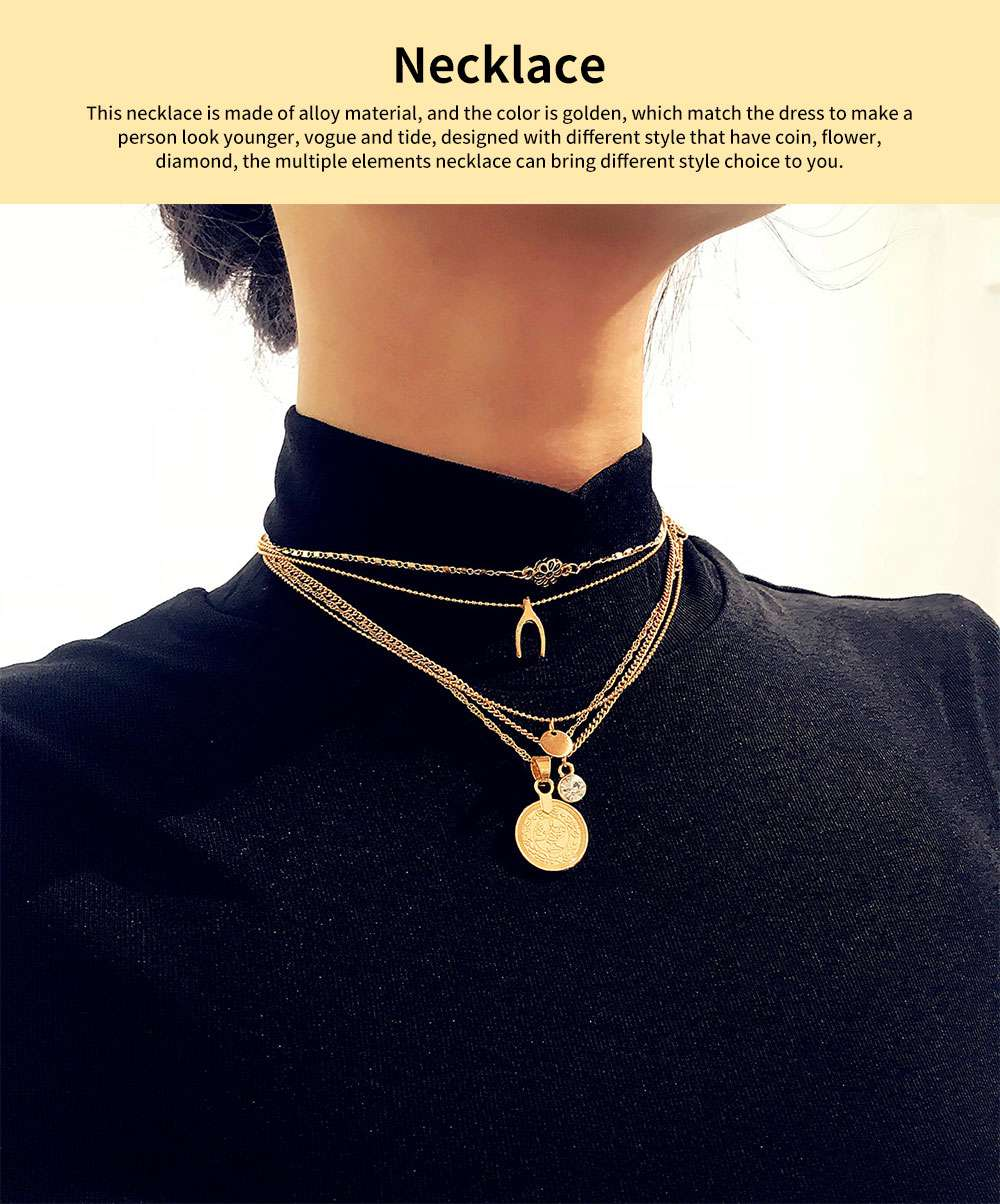 Retro Alloy Plating Necklace Multiple Elements Ornament Coin Flower Diamond Style Neck-let for Women Girl - Golden 0