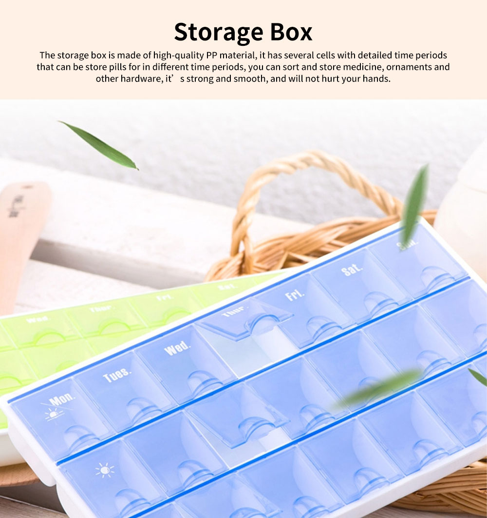 Portable Storage Container Box for Pill Vitamin Ornaments, 14/28/21 Cells Canister Travel Business Trip Container Box with Detailed Time Periods 0
