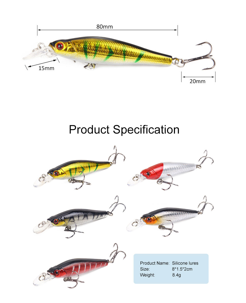 Bionic Fishing Lure with Double Circle and 3D Eyes, Lifelike Skin Silicone Baits, Attractants for Saltwater and Freshwater 6