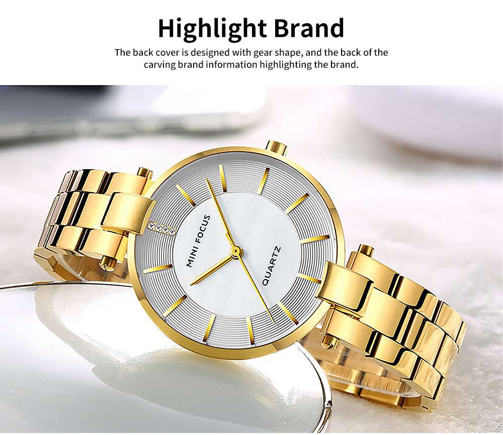 Fashion Elegant Female Wristwatch with Stainless Steel Band Strap Imported Movement, Wear-resisting Lens Round Case Waterproof Quartz Watch 5