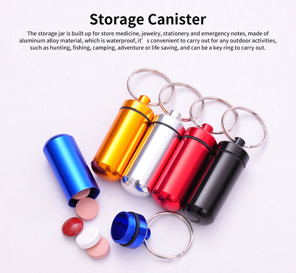 Mini Pill Storage Canister Aluminum Alloy Portable Container for Medicine Jewelry Emergency Notes Waterproof Store Drug Jar 0