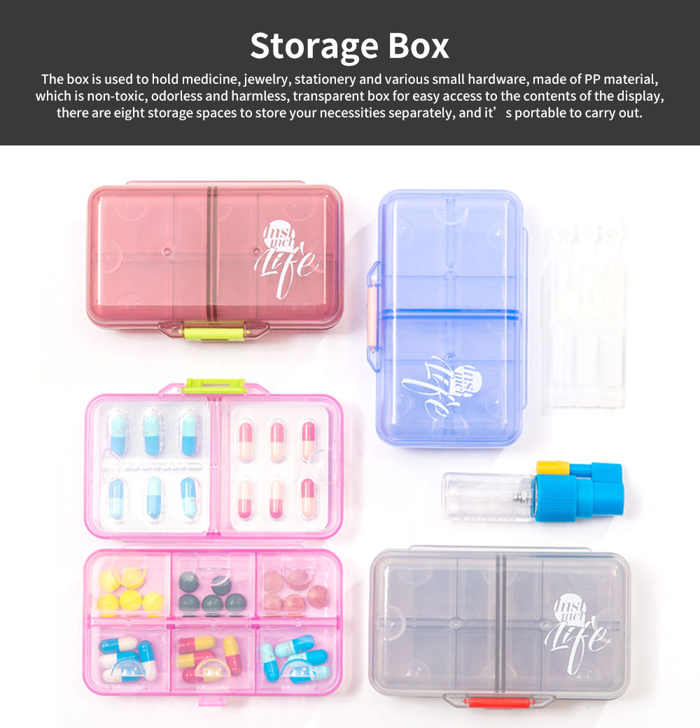 Portable PC Pill Organiser Storage Box Non-toxic Container 8 Spaces for Medicine Jewelry Easy Carrying Double Layers Dispenser 4 Colors 0
