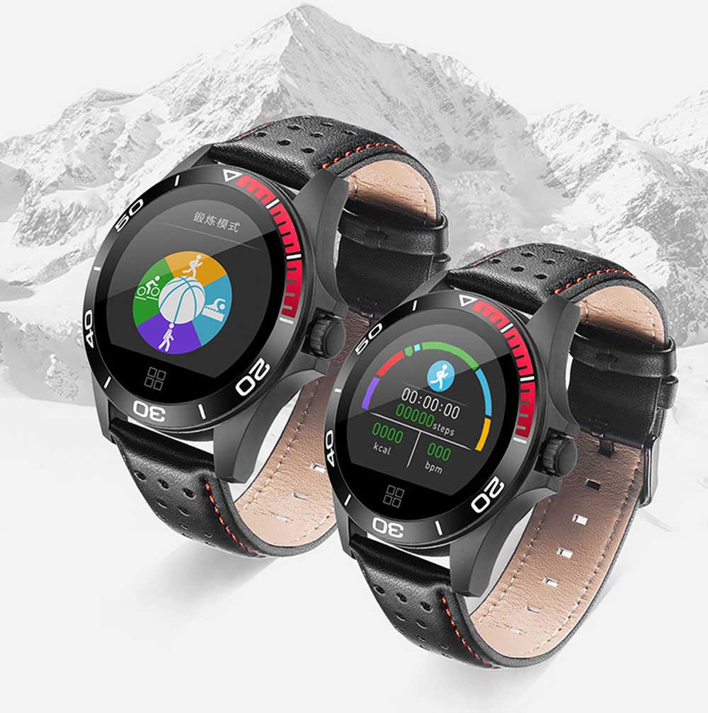 Multifunctional Smart Electronic Watch Supporting Sports Step & Heart Rate with IOS/Android Bluetooth, Water-poof Bracelet with Genuine Leather Strap 4