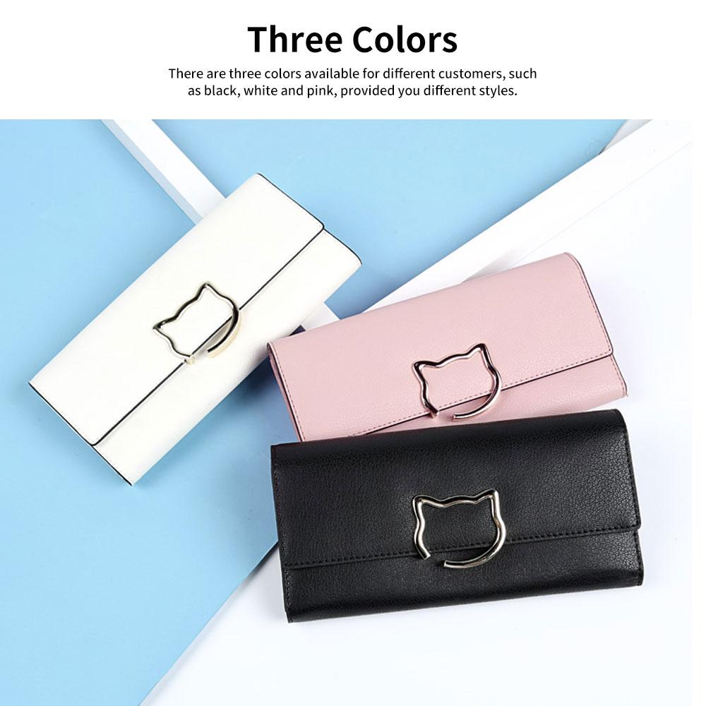 Genuine Leather Female Handbag Cowhide Leather Note-case Multiple Structures Bag Cute Cat Decoration Stylish Purse Women Wallet 5