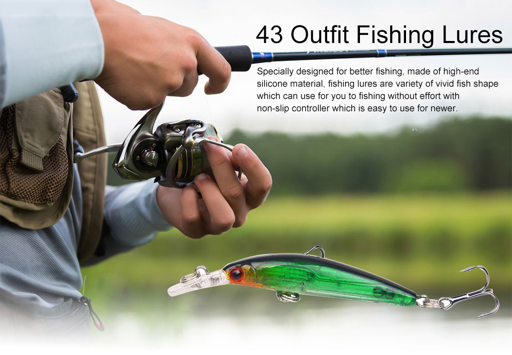 43 Outfit Fishing Lures with Various Style and Variety of Shape, Silicone Baits, Attractants for Saltwater and Freshwater 0