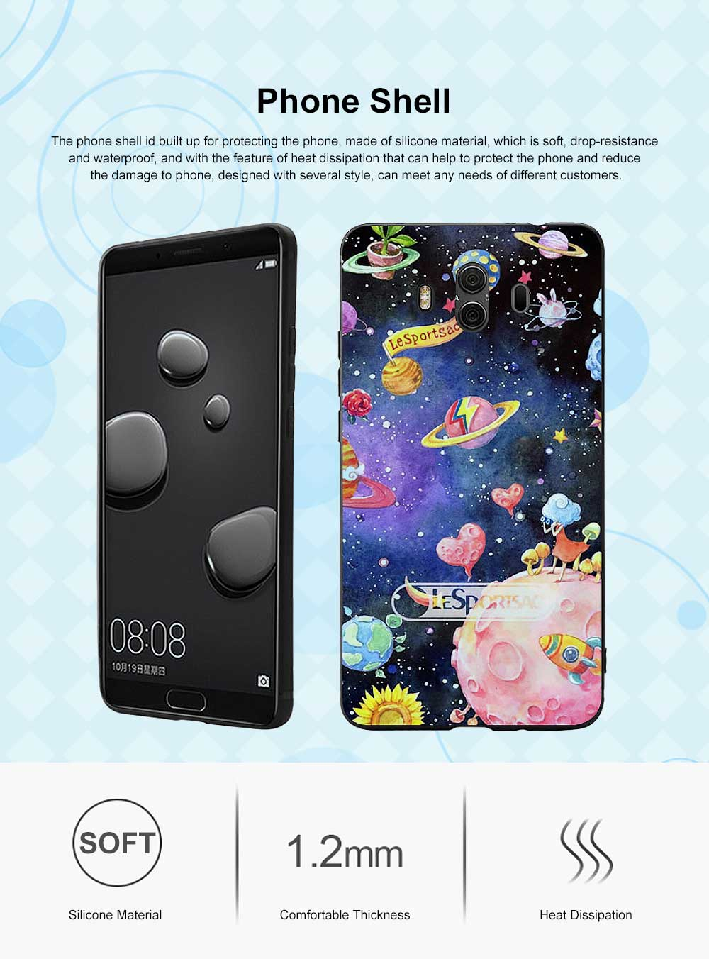 Creative Planet Oil Painting Silicone Phone Shell for Huawei Mate 10 Drop-resistance Huawei Mate 20 Cover Phone Case 9