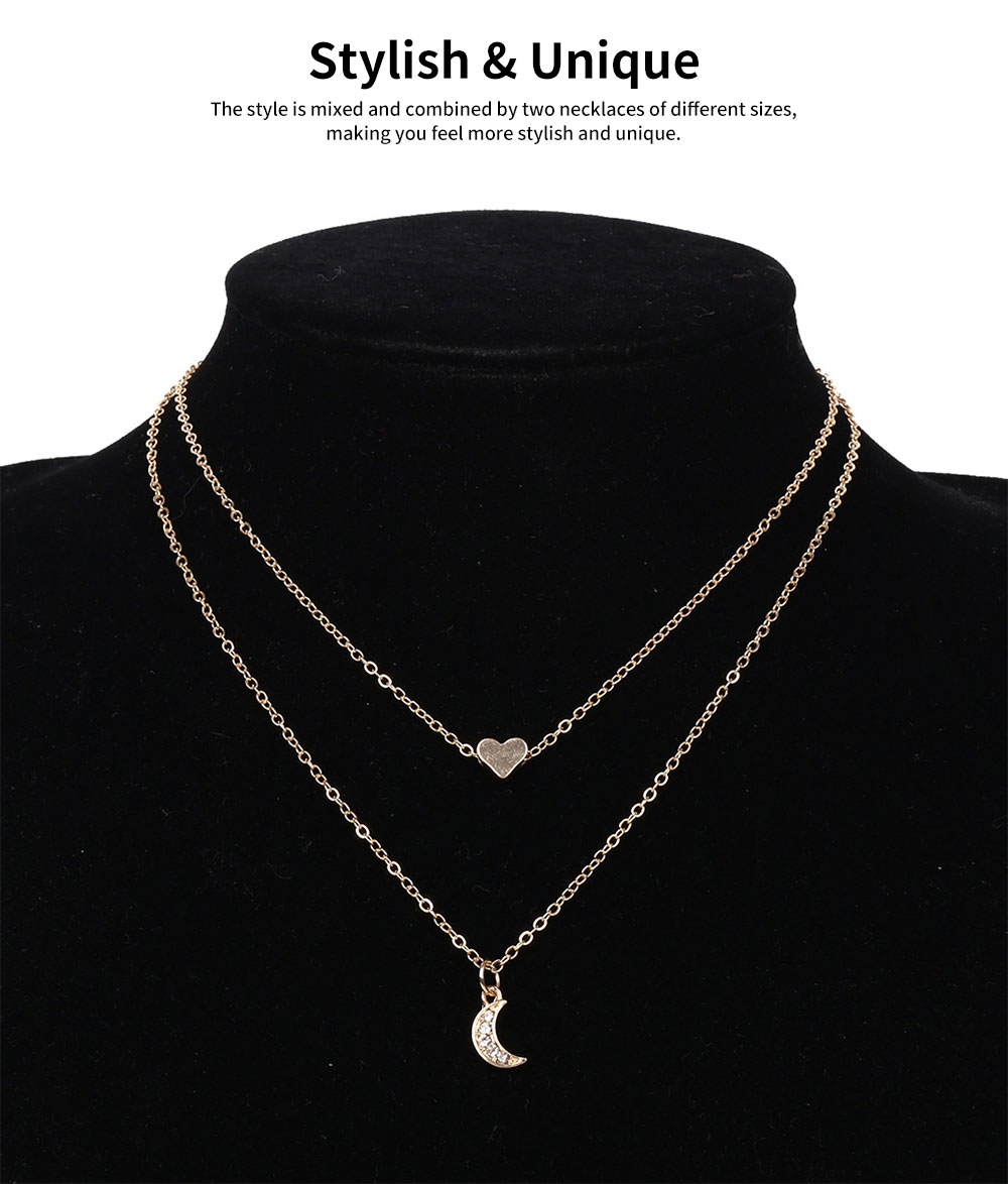 Female Necklace Alloy Neck-let Two Layers Moon Heart Shapes Torque Simple Ornament for Women 5