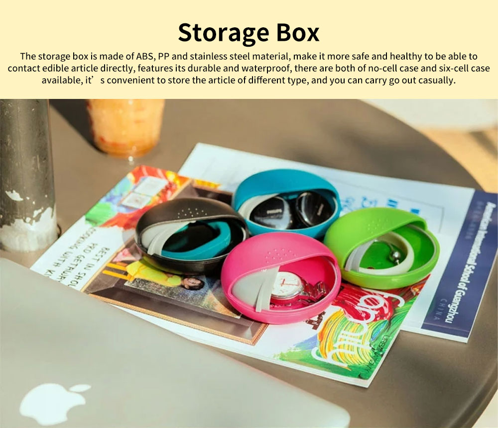 m square Mini PP ABS Round Pill Box Container Storage Case for Medicine Jewelry Vitamin Headphone 0