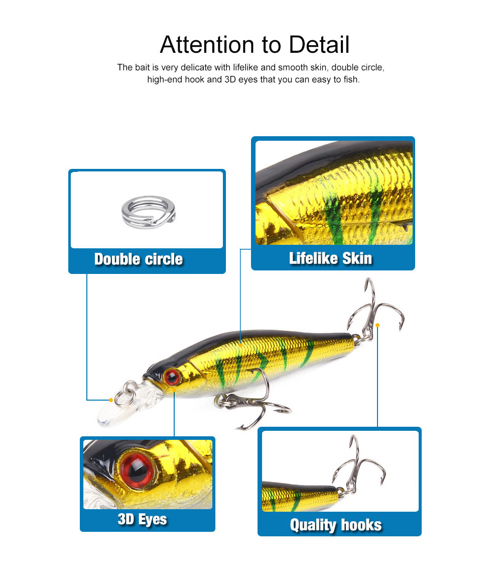 Bionic Fishing Lure with Double Circle and 3D Eyes, Lifelike Skin Silicone Baits, Attractants for Saltwater and Freshwater 5