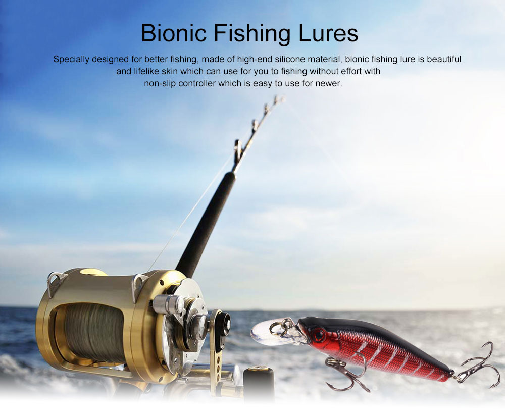 Bionic Fishing Lure with Double Circle and 3D Eyes, Lifelike Skin Silicone Baits, Attractants for Saltwater and Freshwater 0