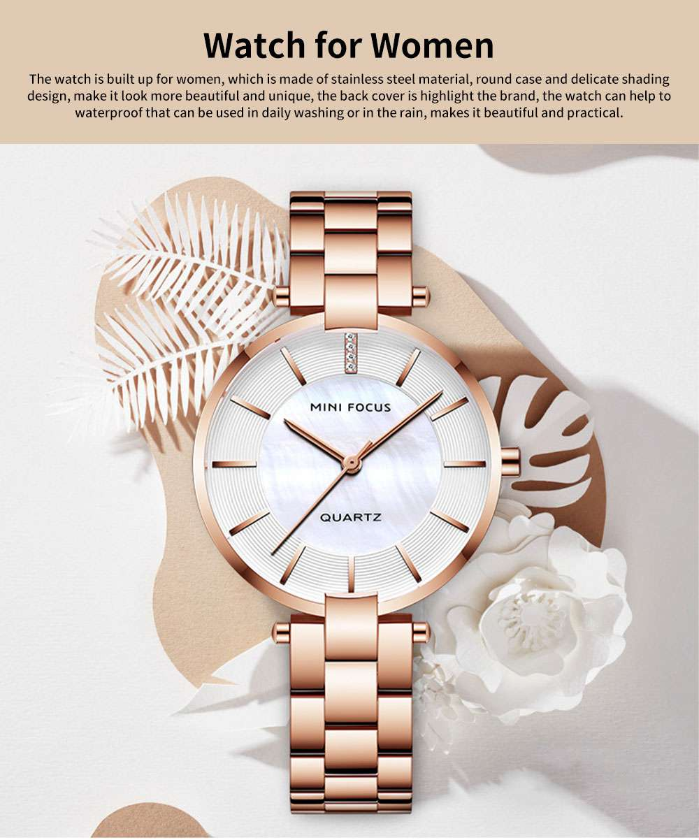 Fashion Elegant Female Wristwatch with Stainless Steel Band Strap Imported Movement, Wear-resisting Lens Round Case Waterproof Quartz Watch 0