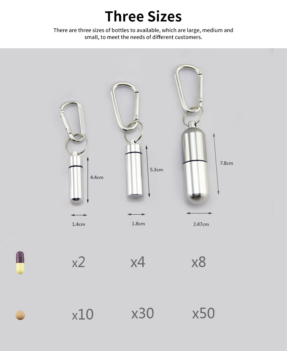 Aluminum Alloy Mini Pill Storage Bottle Waterproof Canister for Medicine Travel Business Trip One Week Small Storage Box 5