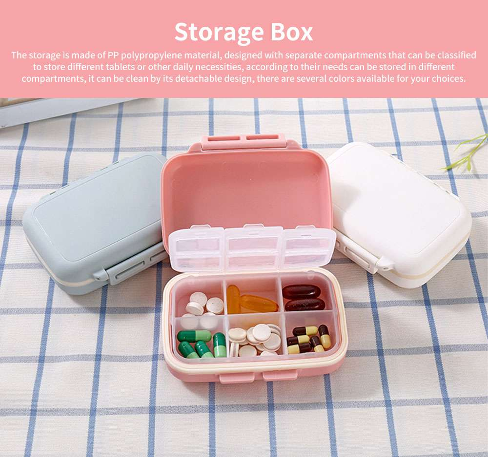 One Week Daily Sealing Pill Case Dispenser, Portable Mini Storage Box PP Small Container for Medicine Jewelry Vitamin 0