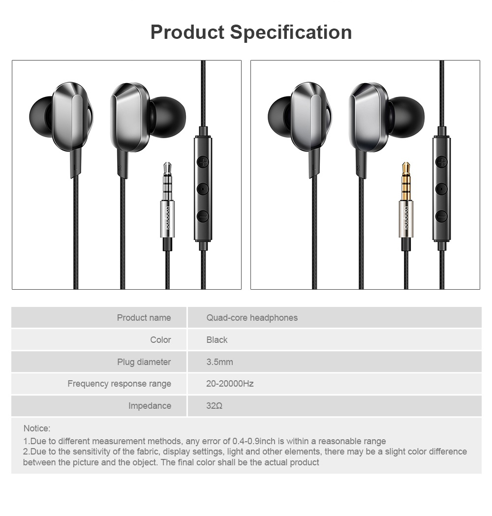 Universal A8 Quad-core Headphones Subwoofer Wired In-ear Earbuds Mobile Phone High-quality Karaoke Headset HiFi 6