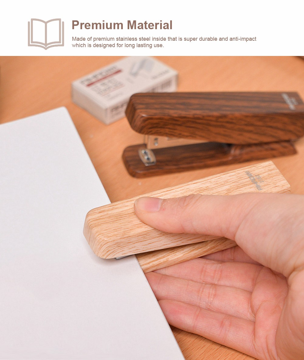 Office Mini Staplers Fashion Wooden Stapler Portable Stationery Office Goods with Staples 5