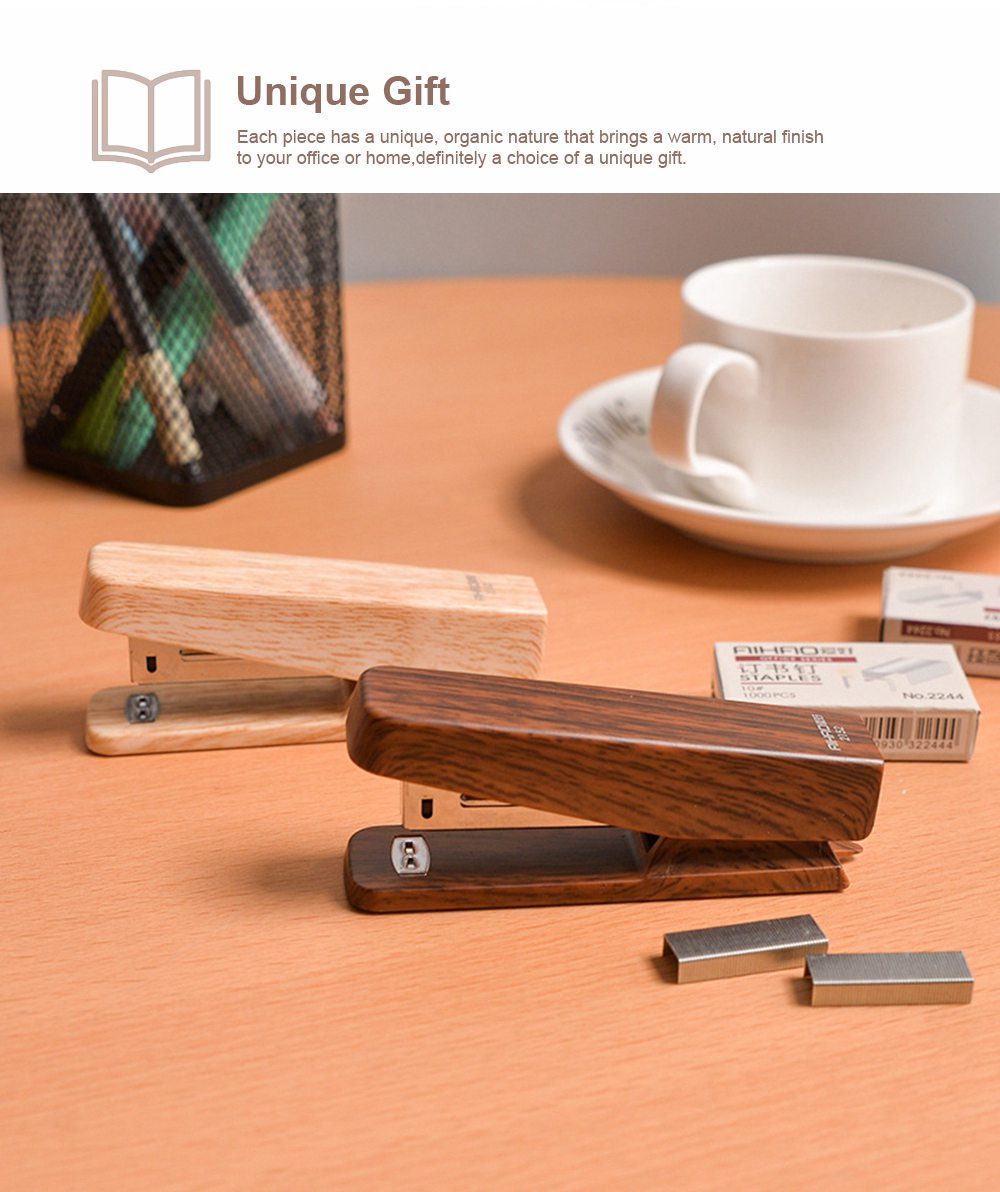 Office Mini Staplers Fashion Wooden Stapler Portable Stationery Office Goods with Staples 3