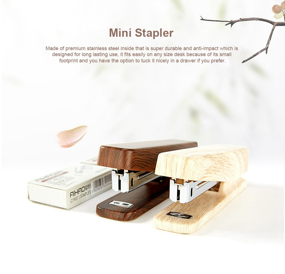 Office Mini Staplers Fashion Wooden Stapler Portable Stationery Office Goods with Staples 0