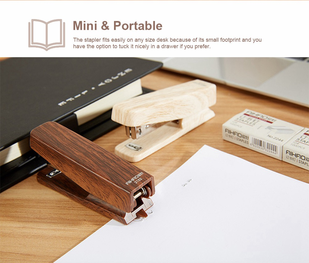 Office Mini Staplers Fashion Wooden Stapler Portable Stationery Office Goods with Staples 4
