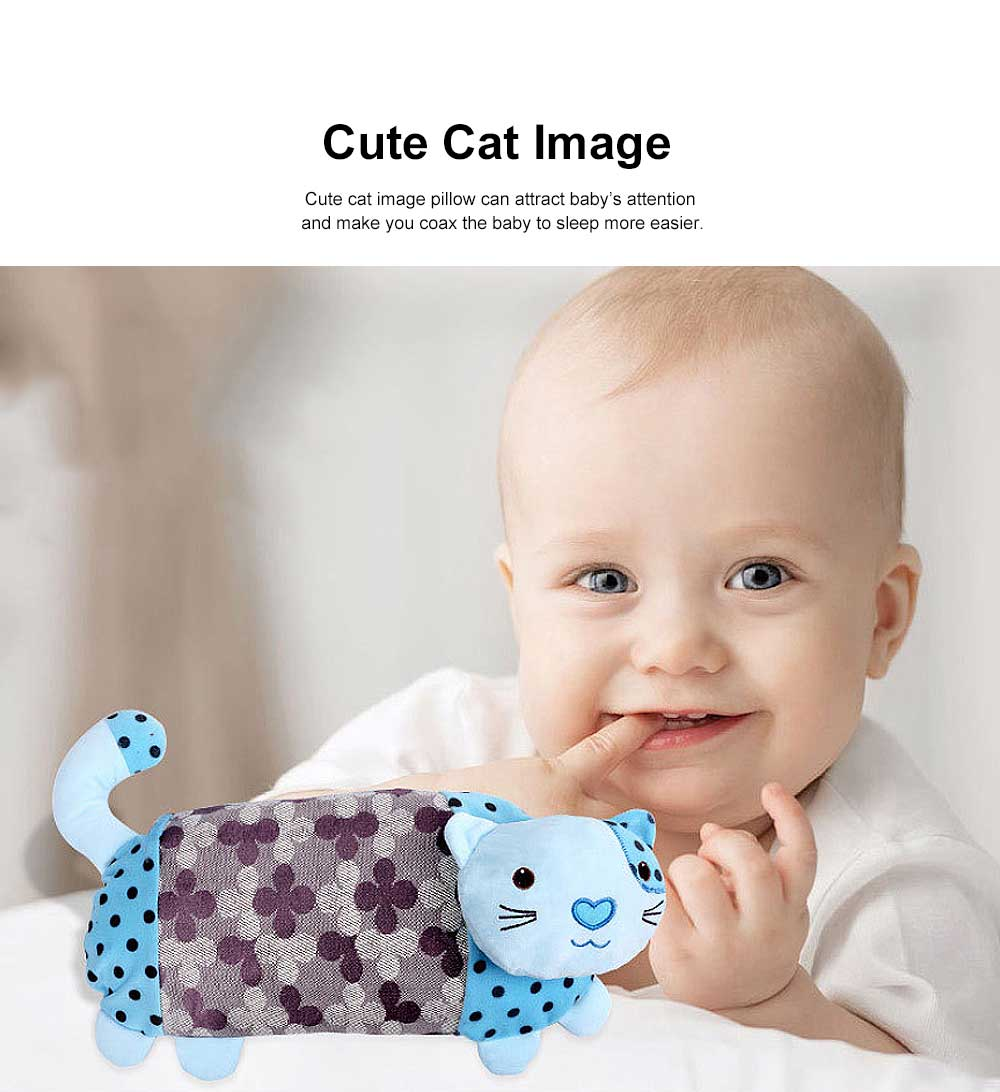 Multifunctional Silk Baby Pillow, Rectangular Babies Neck Protecting Cool Pillow in Summer, Cat Image Ice Silk Pillow for Infant 1