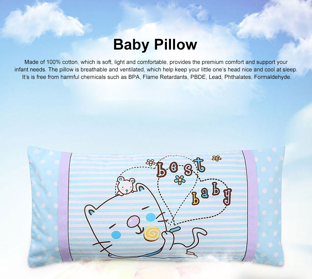 Soft Baby Pillow Anti-Headrest, Comfortable Cotton Pillow for 0-6 Months infant newborn Baby, Candy Cat Pillow 0