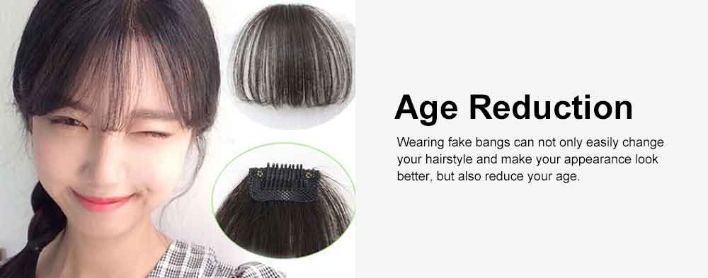Real Human Hair Mini Thin Air Bangs Clip Hand-woven Neat Hairpiece Fringe Front Natural Wig 4