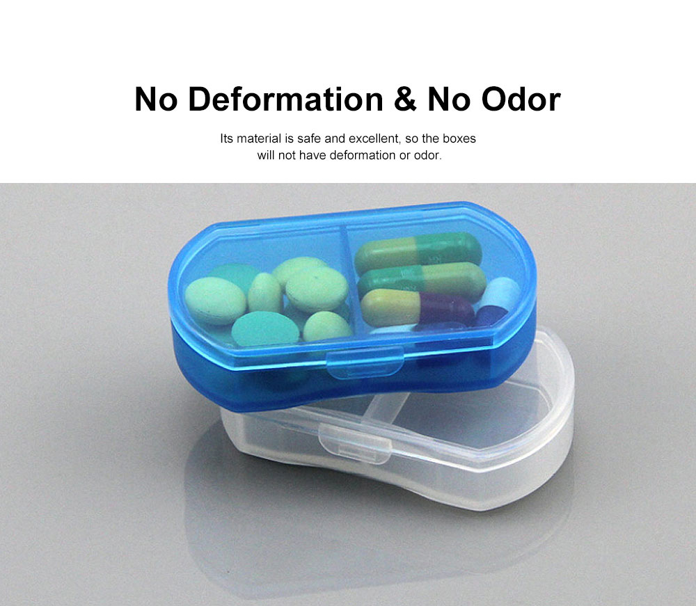 Transparent Simple 2-cell Sealed Pill Box for Traveling, Portable Daily Pill Container Food Grade PP Pill Case 1