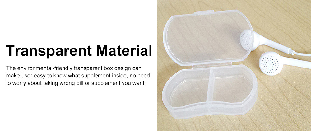 Transparent Simple 2-cell Sealed Pill Box for Traveling, Portable Daily Pill Container Food Grade PP Pill Case 3