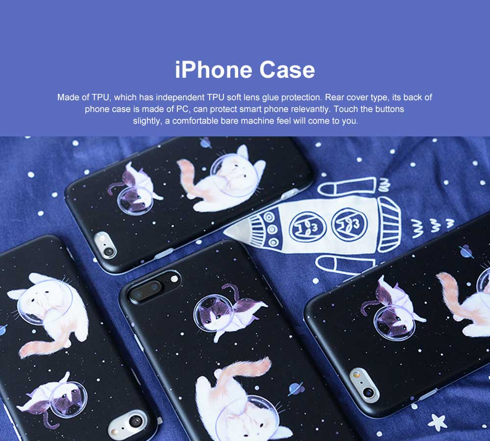 Space Cat Frosted PC Soft Protective Case for iPhone 6 6s Plus/ 7/ 8/ 7 Plus/8 Plus, Shockproof Anti Scratch Phone Back Cover Case  0