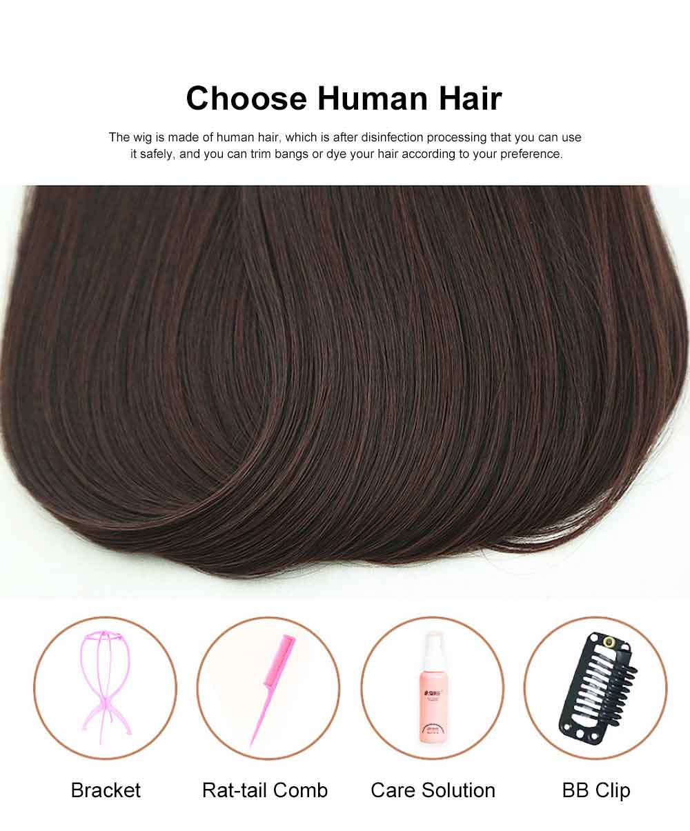 Real Hair Wig Piece Color Thin and Light Straight Hair Piece Natural Full Head Clip Women Ladies Hand-woven Wig 1