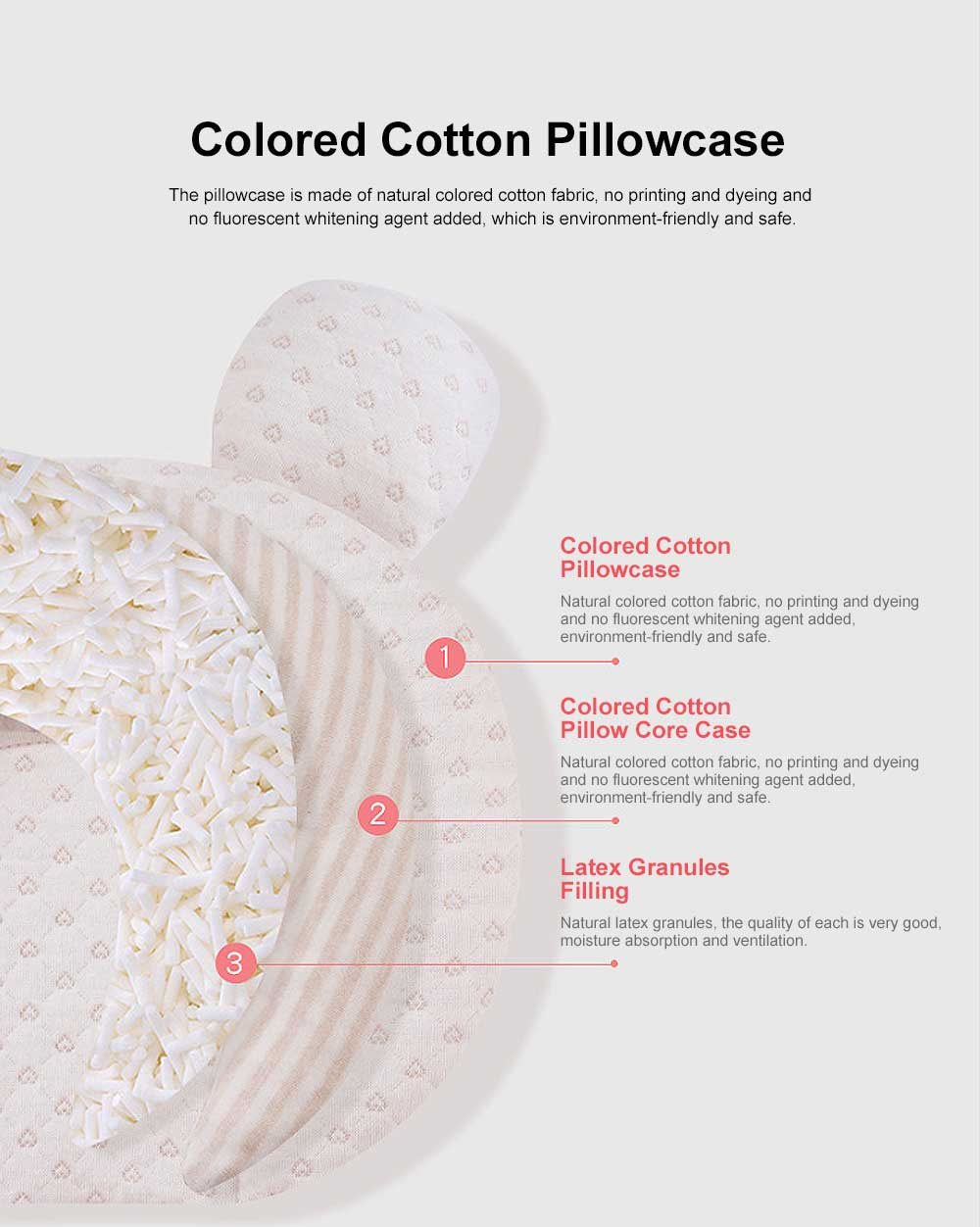 Infant Pillow Natural Latex Baby Pillow for 6 Months Newborn Prevent Flat Head Anti Roll Neck Support Breathable Pillow 2