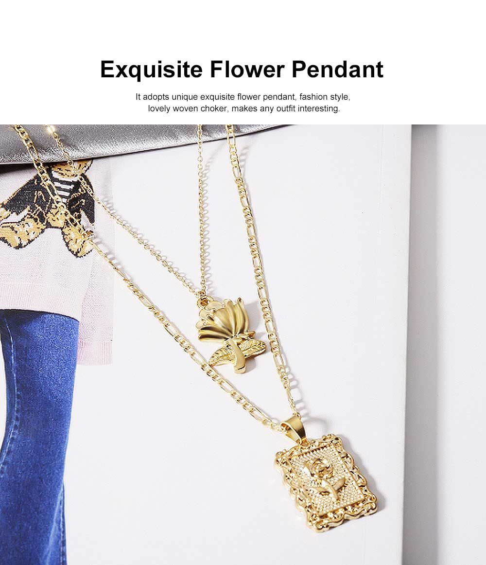 Multilayer Pendant Necklace for Women, Flower Necklace Jewelry, Gold Silver Long Chain Necklace for Girls 1
