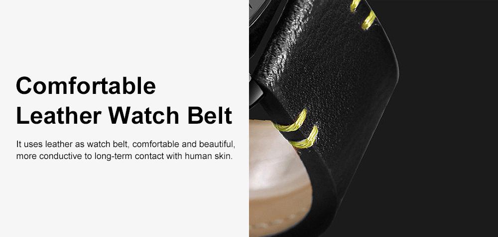 Men's Fashion Watch Leather Strap Alloy Wristwatch Luminous Water Proof Quartz Mechanical Watch with Calendar Display 5