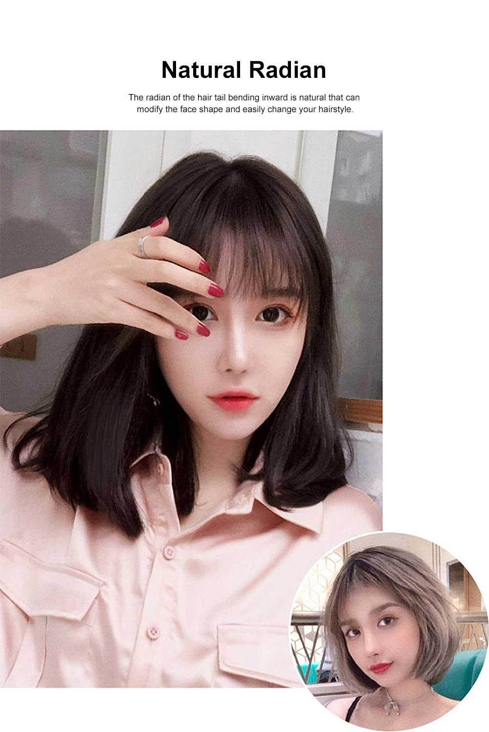 Middle-length Fake Hair for Women, Natural Cute Curly Long Hair with Bangs Head Type Round Face Short Wig 1