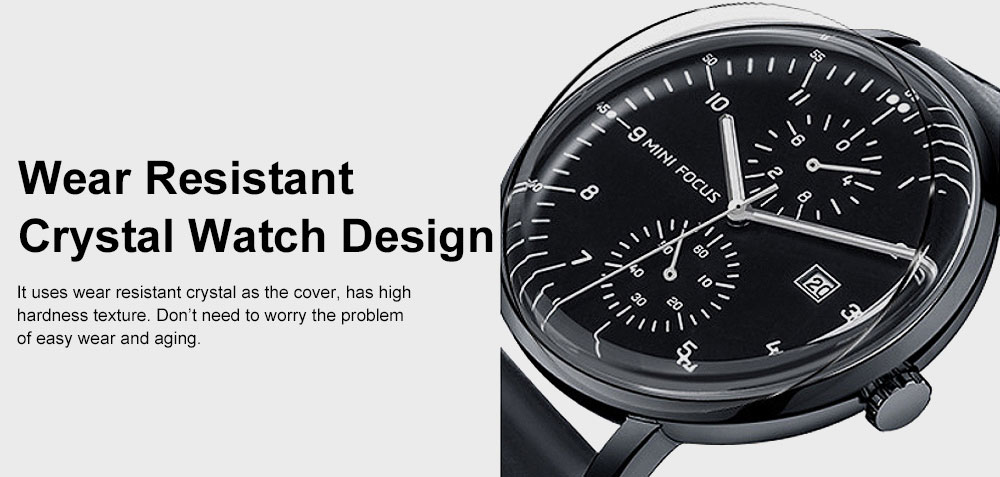 Men's Fashion Watch with Calendar Luminous Waterproof Wristwatch Leather Strap Watch 5