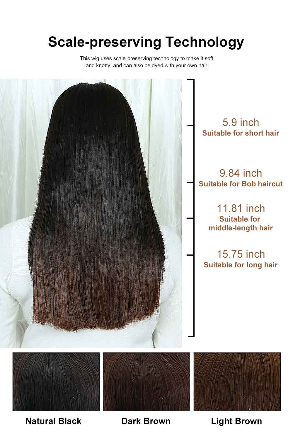 Real Hair Wig Piece Color Thin and Light Straight Hair Piece Natural Full Head Clip Women Ladies Hand-woven Wig 4