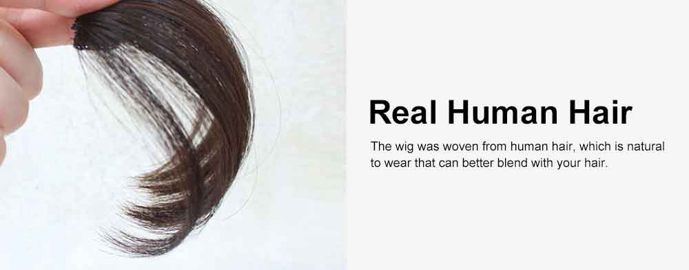 Real Human Hair Mini Thin Air Bangs Clip Hand-woven Neat Hairpiece Fringe Front Natural Wig 2