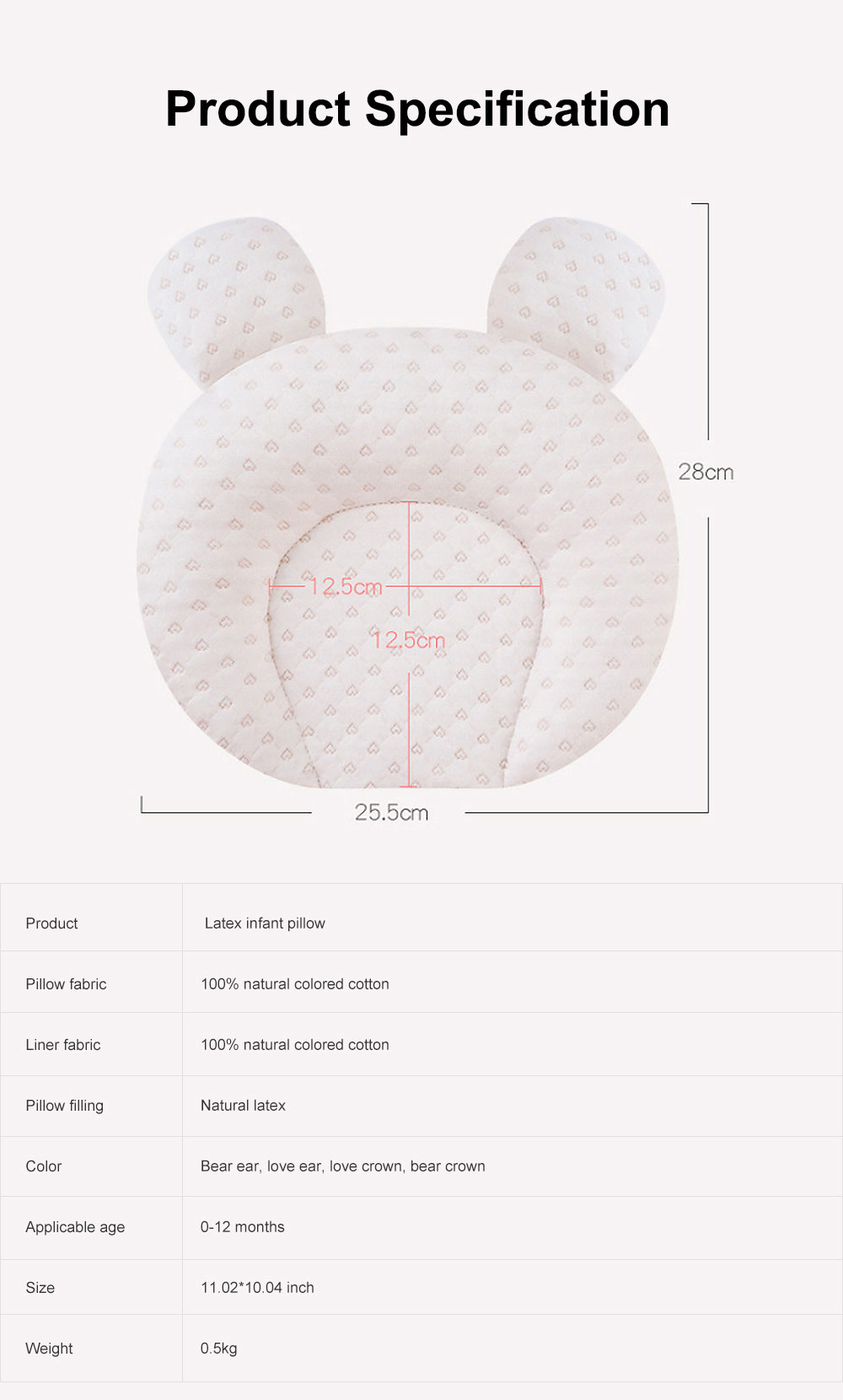 Infant Pillow Natural Latex Baby Pillow for 6 Months Newborn Prevent Flat Head Anti Roll Neck Support Breathable Pillow 6