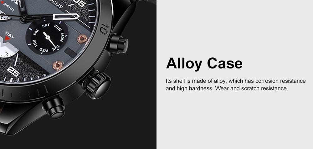 Men's Fashion Watch Leather Strap Alloy Wristwatch Luminous Water Proof Quartz Mechanical Watch with Calendar Display 2